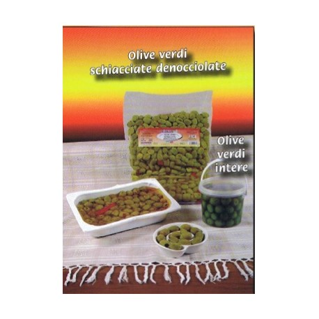 Olive verdi schiacciate denocciolate gr. 500